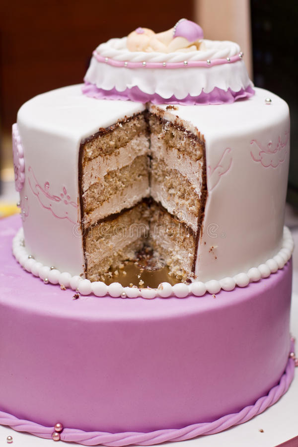 White And Purple Wedding Cake Stock Image - Image of pastel ...