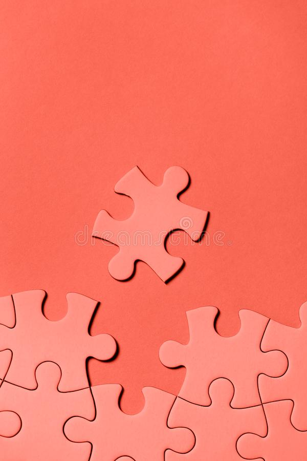 White puzzle with missing part. On pink background. Business concept stock photography