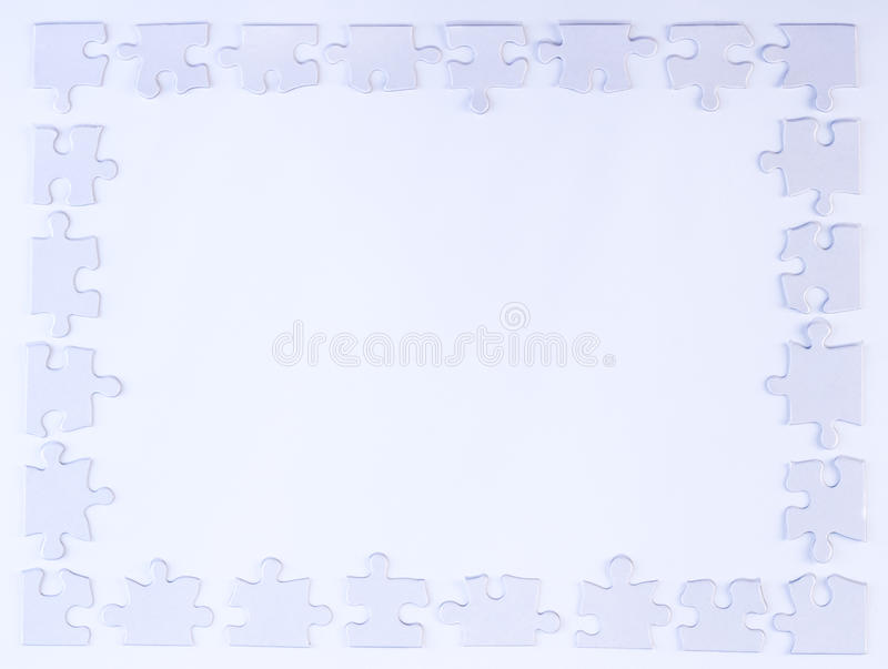 White Puzzle Piece Border royalty free stock image