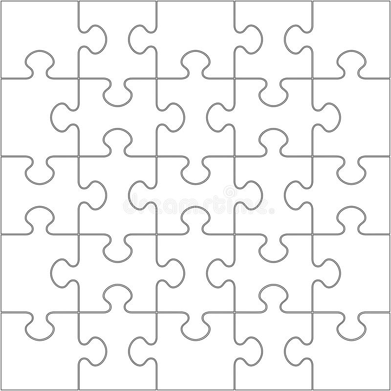 25 jigsaw puzzle blank template stock illustration
