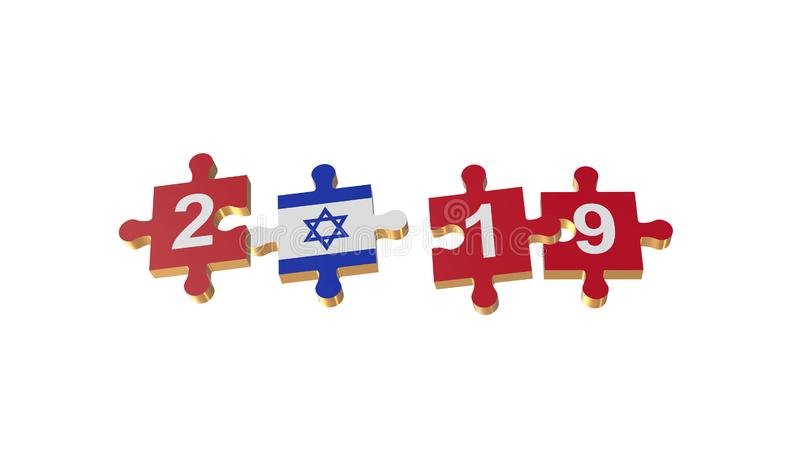 White for Puzzle to Israel Flag for New Years 2019 vector illustration