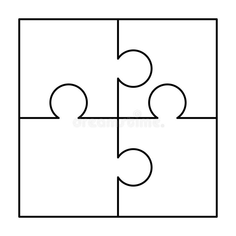 4 white puzzles pieces arranged in a square. Jigsaw Puzzle template ready for print. Cutting guidelines on white vector illustration