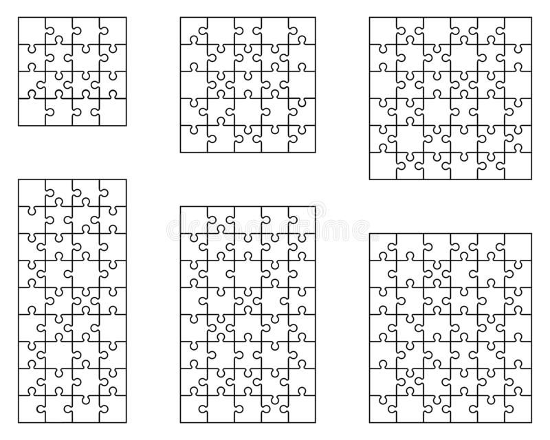 white puzzles, separate pieces royalty free stock images