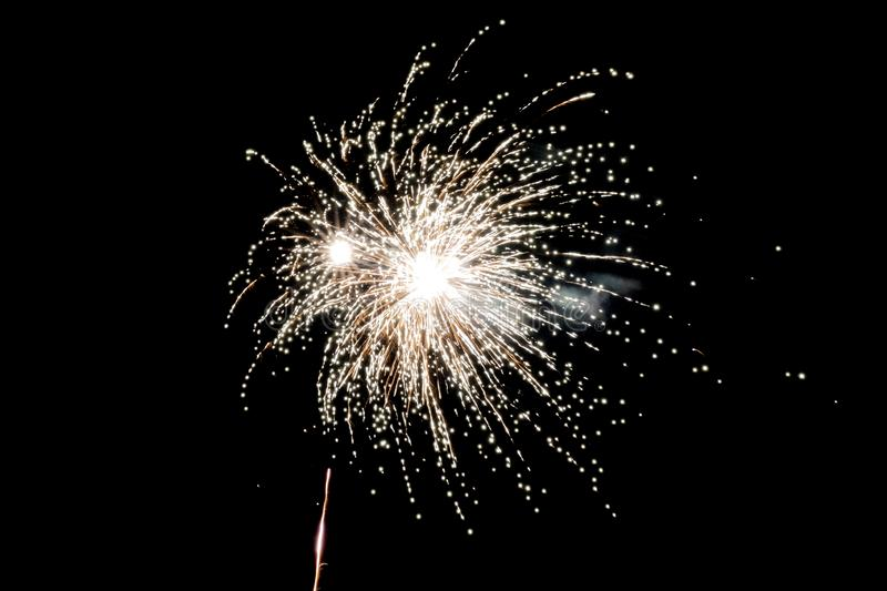 White pyrotechnic fireworks in the night. A White pyrotechnic fireworks effect in the night in France stock photography