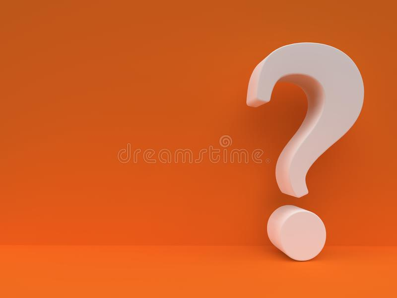 White Question mark against orange wall royalty free illustration