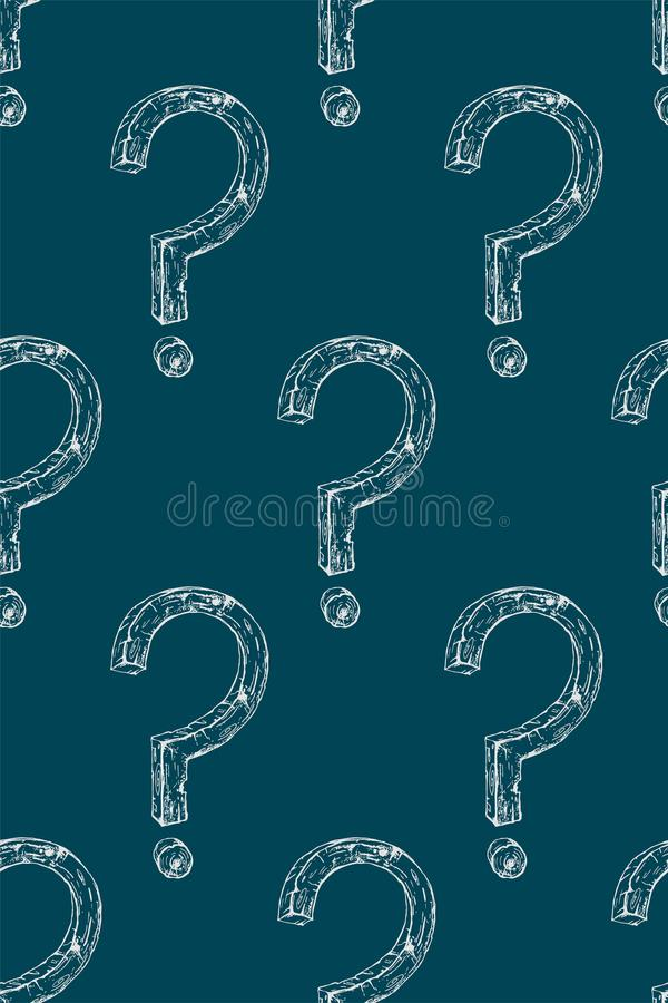 White questions signs on a blue background. royalty free stock photo