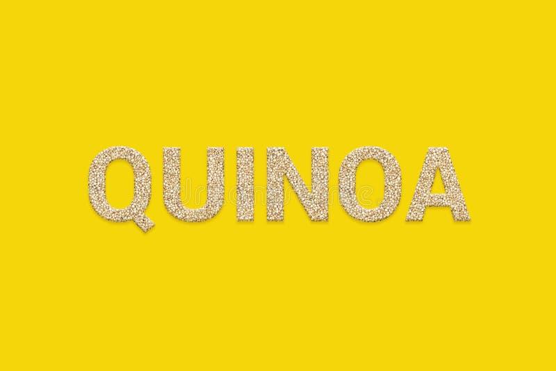 White Quinoa grains texture text. White Peruvian Incan super food seeds. White Quinoa grains texture text on yellow color background. White Peruvian Incan super vector illustration