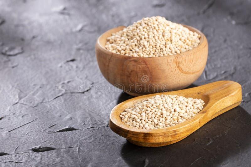 White Quinoa Seeds - Chenopodium quinoa. Text space royalty free stock photo