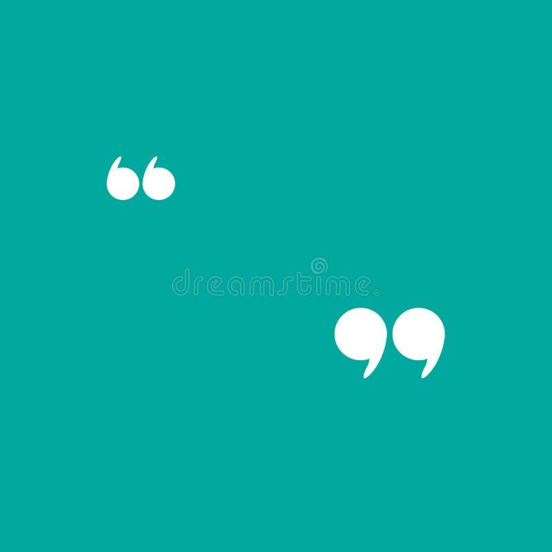 White quote marks isolated on tuquoise background. Flat reading icon stock illustration