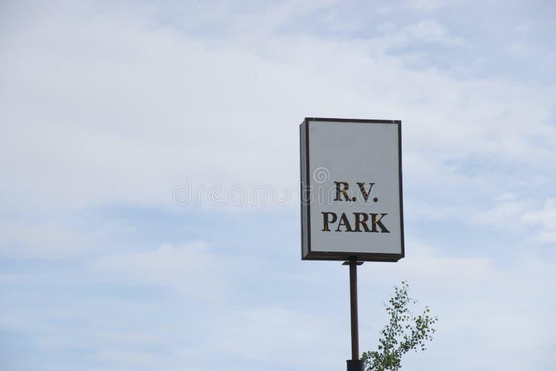 White R.V. Park sign stock image
