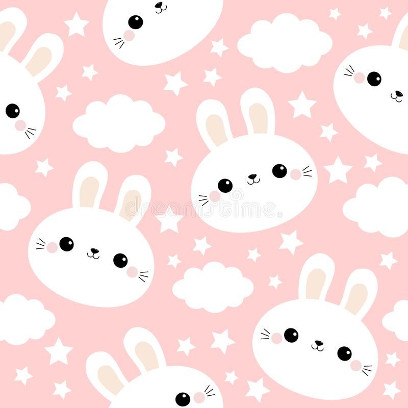 White rabbit bunny face. Seamless Pattern. Cloud in the sky. Cute cartoon kawaii funny smiling baby character. Wrapping paper, vector illustration