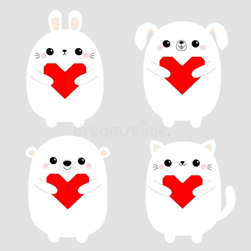 White rabbit cat kitten hare bear dog puppy head face set holding red origami paper heart. Happy Valentines Day. Cute cartoon. Kawaii funny baby animal. Flat vector illustration