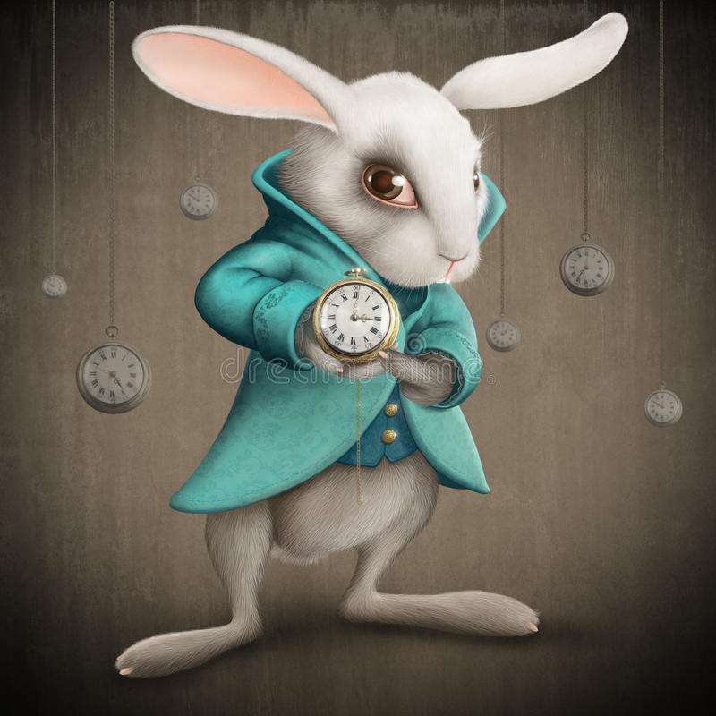 White rabbit with clock vector illustration