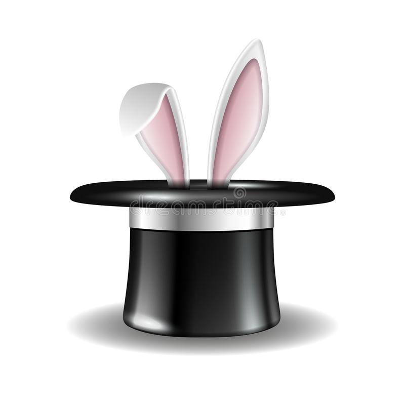 White rabbit ears appear from the magic hat stock illustration