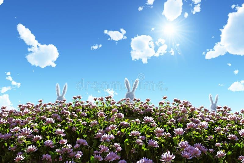 White rabbit on flowering field. 3d vector illustration