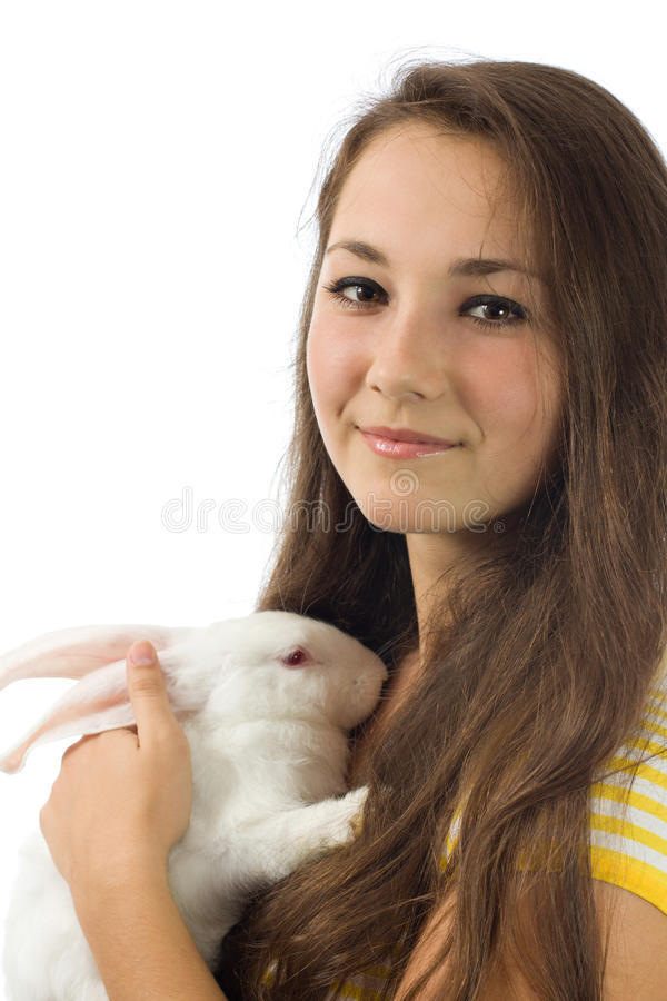 White rabbit with the girl stock photography