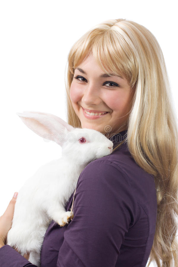 White rabbit with the girl royalty free stock images