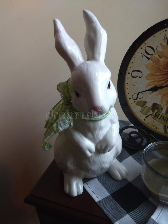 White rabbit with green ribbon on hind legs stock photos