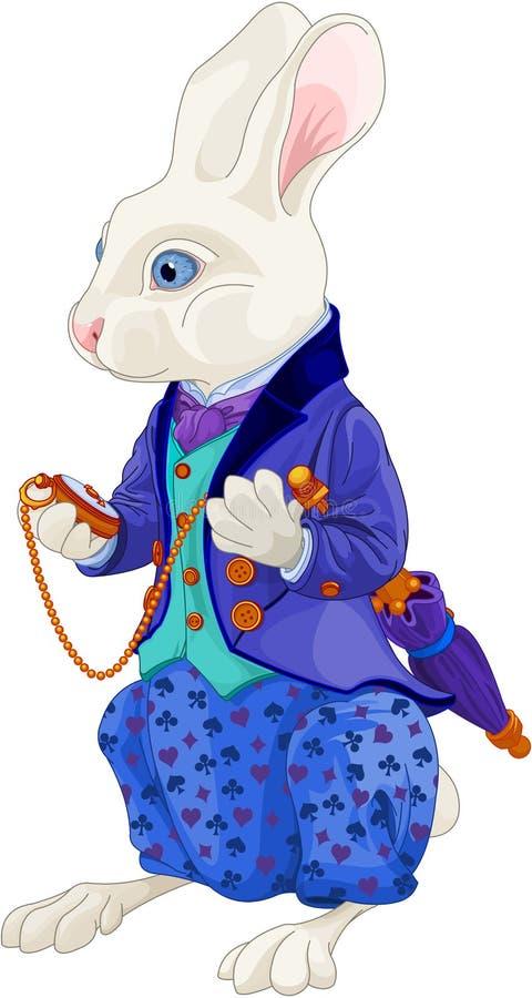 White Rabbit Holds Watch. Illustration of white rabbit holds watch stock illustration