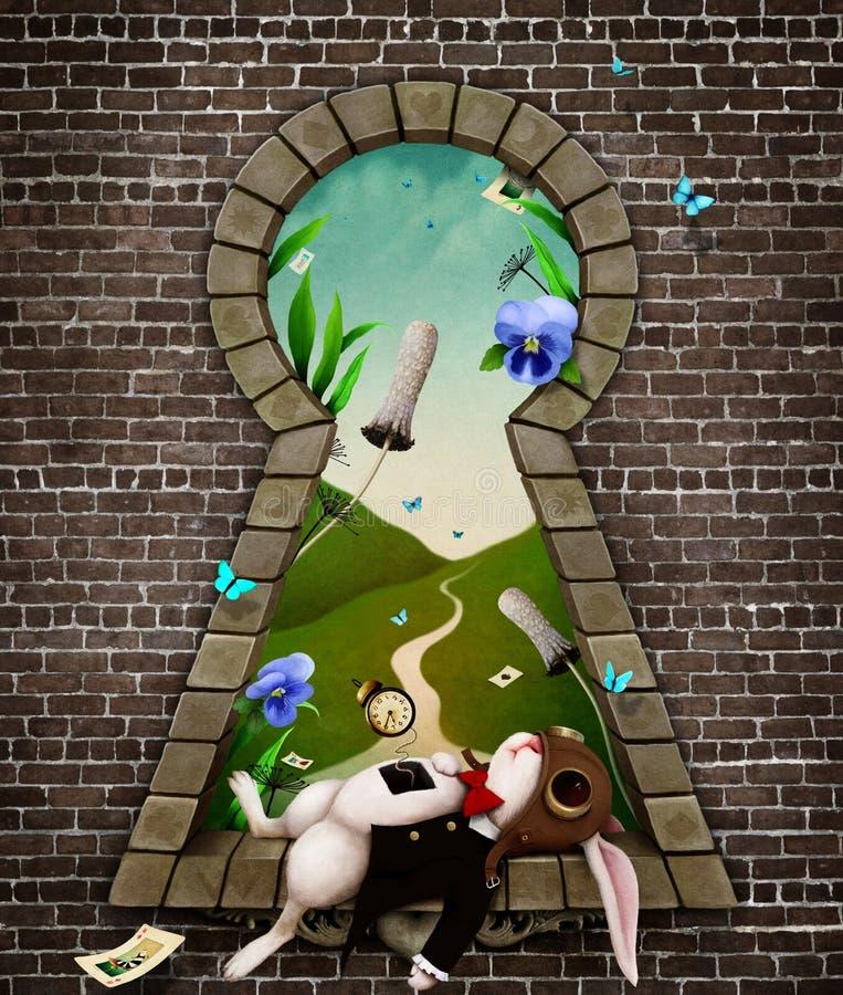 White Rabbit in Keyhole. Fantastic bizarre fabulous keyhole with the white rabbit in whimsical garden fairy tale Wonderland. Computer graphics royalty free illustration