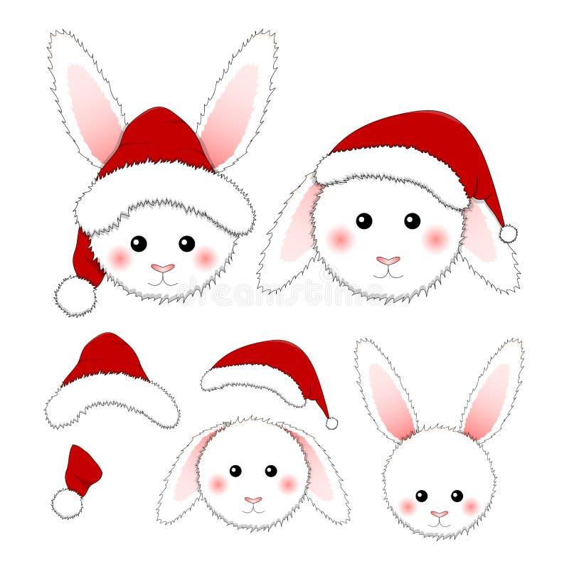 White Rabbit Santa Claus isolated on White Background. Vector Illustration.  royalty free illustration