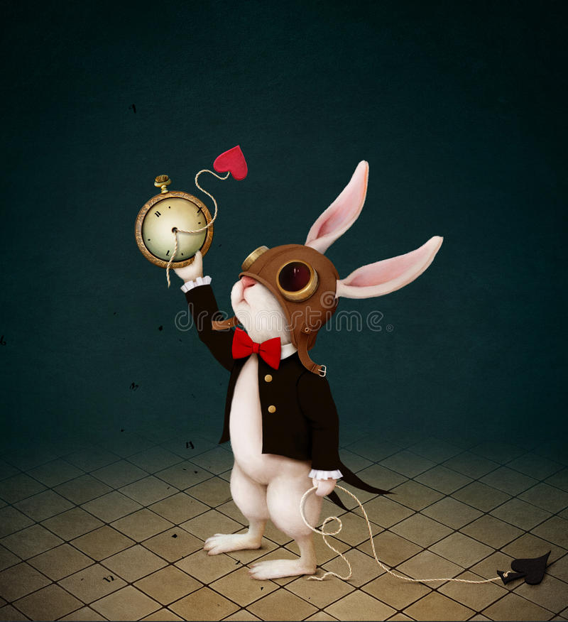 White rabbit and Time royalty free illustration