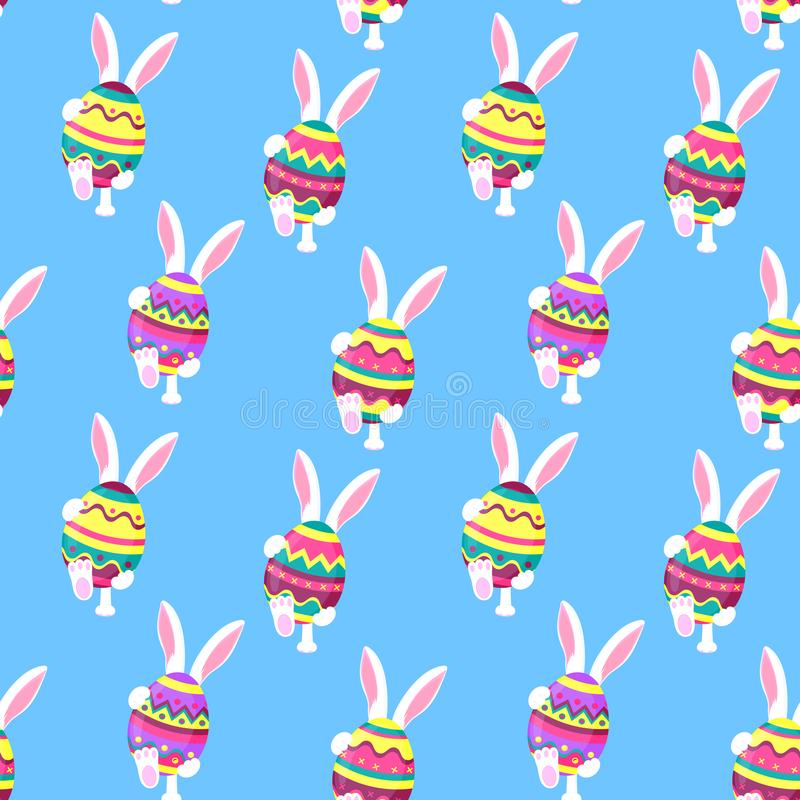 The white rabbit is walking. Bunny holds in his paws an Easter egg. Festive background for Pascha stock illustration