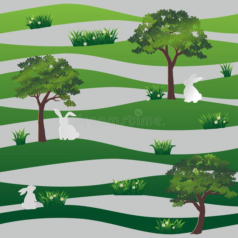 White rabbits in the meadow seamless pattern on green wavy background for happy easter,fabric,textile,print or wallpaper royalty free illustration