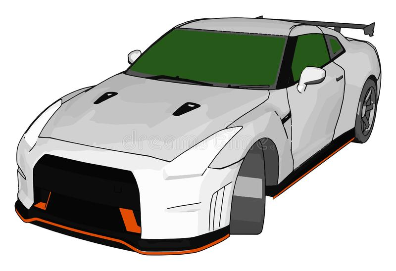 White race car with green windows and orange detailes and grey rear spoiler vector illustration royalty free illustration
