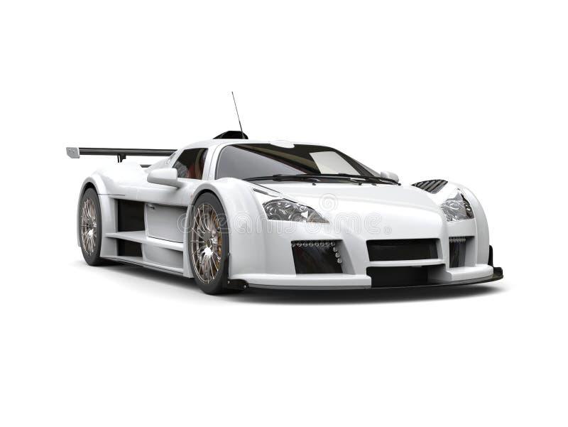 White racing supercar - studio shot. Isolated on white background vector illustration