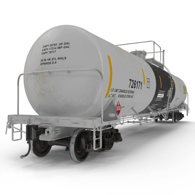 White railroad tank cars for oil and gas. 3D illustration vector illustration
