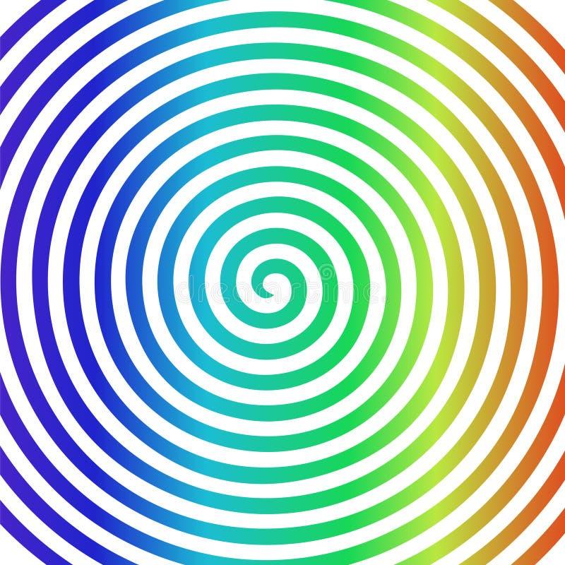 White rainbow round abstract vortex hypnotic spiral wallpaper. stock illustration