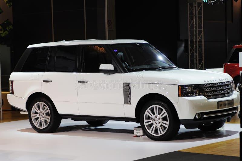 White Range Rover suv royalty free stock photography