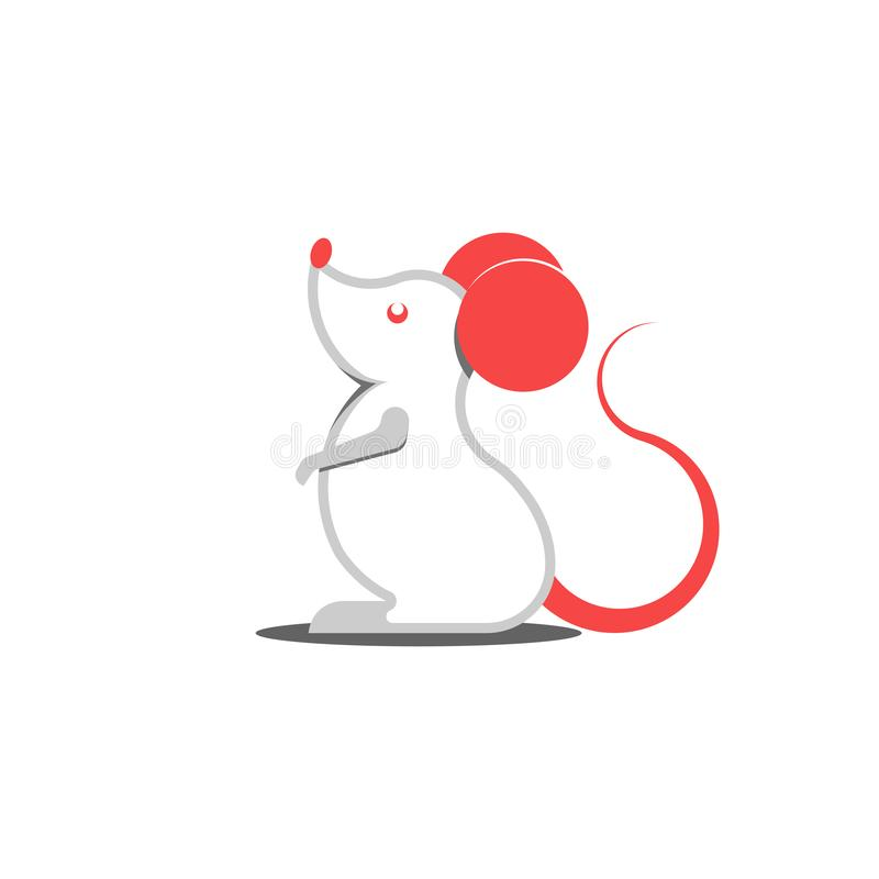 White rat logo with red ears cartoon character mouse creative symbol of Chinese New Year 2020 stock illustration