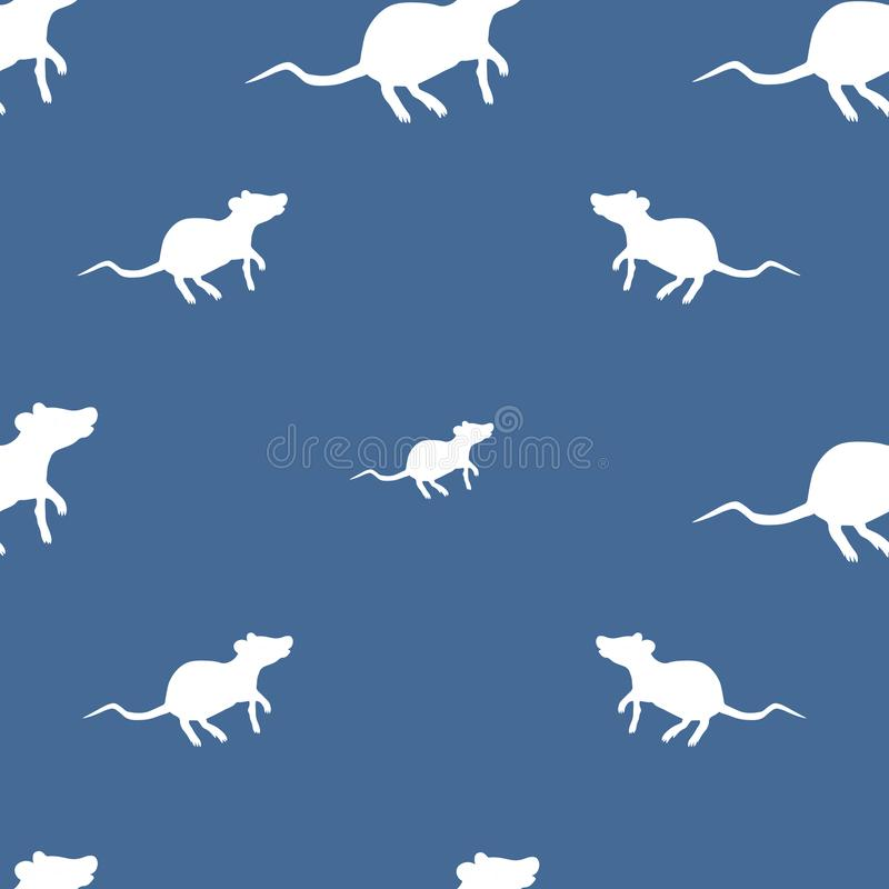White rat pattern. The background is blue. Vector. Chinese New Year. Eastern calendar vector illustration