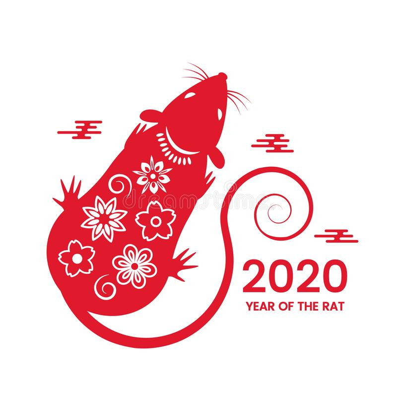 The white rat is a symbol of 2020, the Chinese New Year. Wish in Chinese - Happy New Year. vector illustration