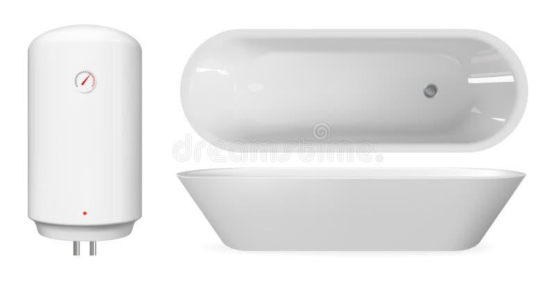 White realistic bathtub and boiler. Vector bathroom furniture set. White realistic bathtub and boiler. Vector bathroom furniture set royalty free illustration
