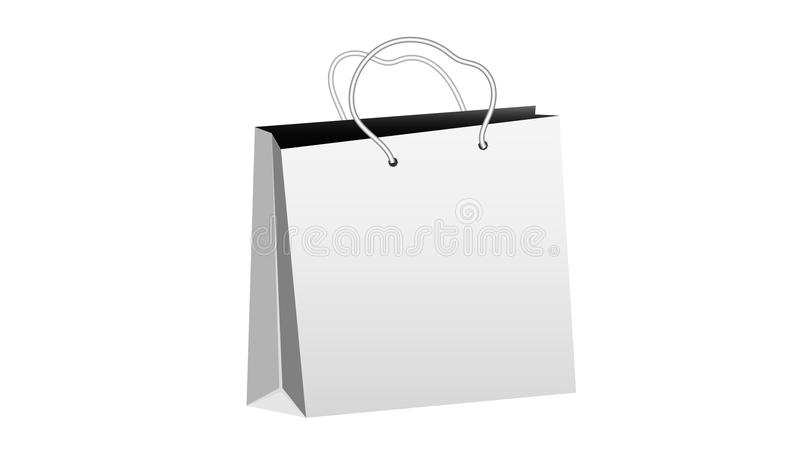 White realistic bulk paper shopping bag with rope handles on a white background and copy space. Vector royalty free illustration