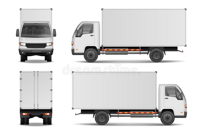 White realistic delivery cargo truck. Lorry for advertising side, front and rear view isolated on white background vector illustration