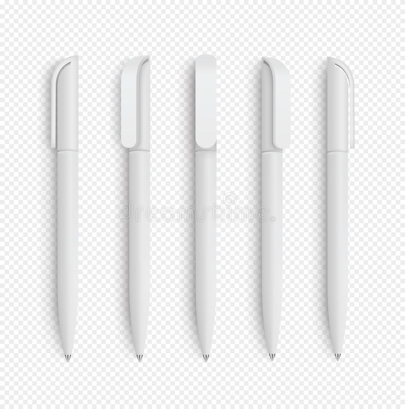 White realistic pen set on isolated background. Vector set of corporate identity, branding stationery. Realistic vector EPS10 - vector illustration