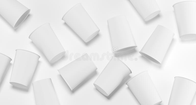 White Realistic Plastic Cups Top View 3D Rendering royalty free illustration