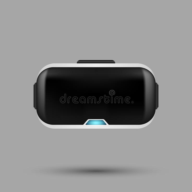 White realistic VR virtual reality glasses with the blue power i stock photo