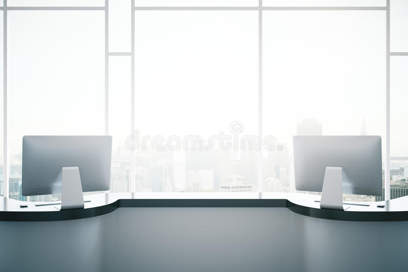 White reception desk closeup. Close up of white reception desk with computer monitors on window with city view background. 3D Rendering royalty free illustration