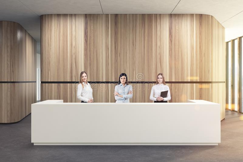 White reception in a wooden office lobby, people royalty free illustration