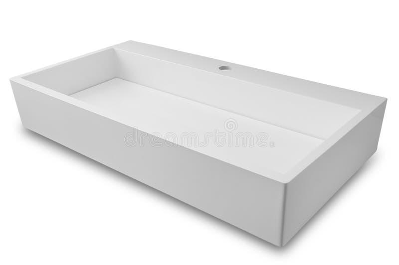 White rectangular modern washbasin without draining into the bat royalty free stock photography