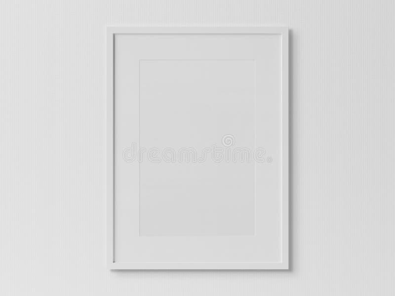 White rectangular vertical frame hanging on a white wall mockup. White rectangular vertical frame hanging on a white textured wall mockup 3D rendering vector illustration