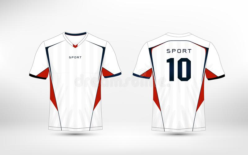 White, red and blue pattern sport football kits, jersey, t-shirt design template. vector illustration