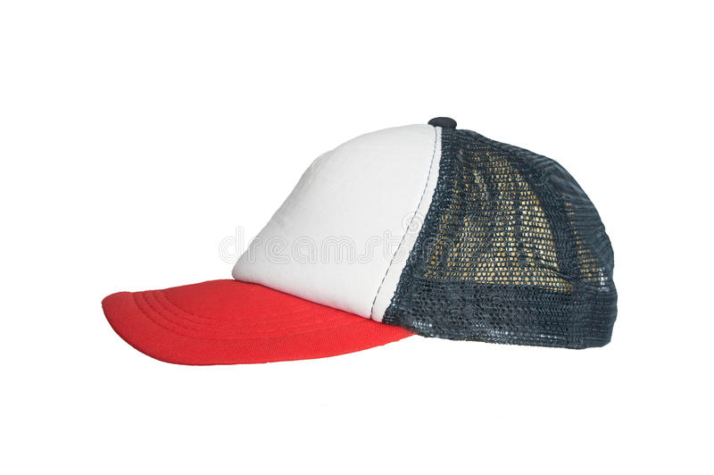 White red cap with a grid on a white background, isolated. White red cap with a grid on a white background stock images