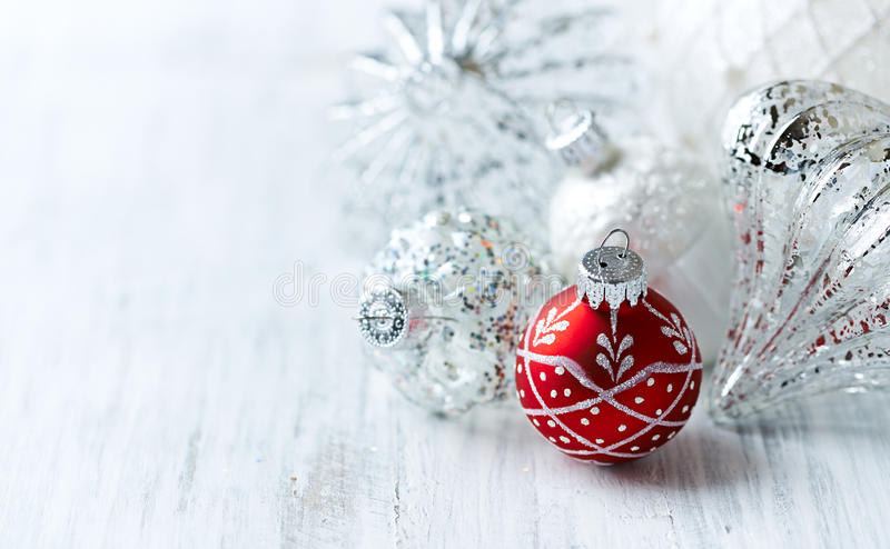 White and red Christmas balls. Close up stock photos