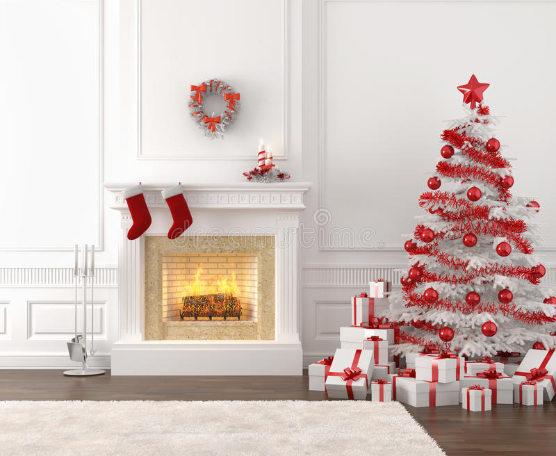 White and red christmas fireplace. Modern style interior of fireplace with christmas tree and presents in white and bright red royalty free illustration